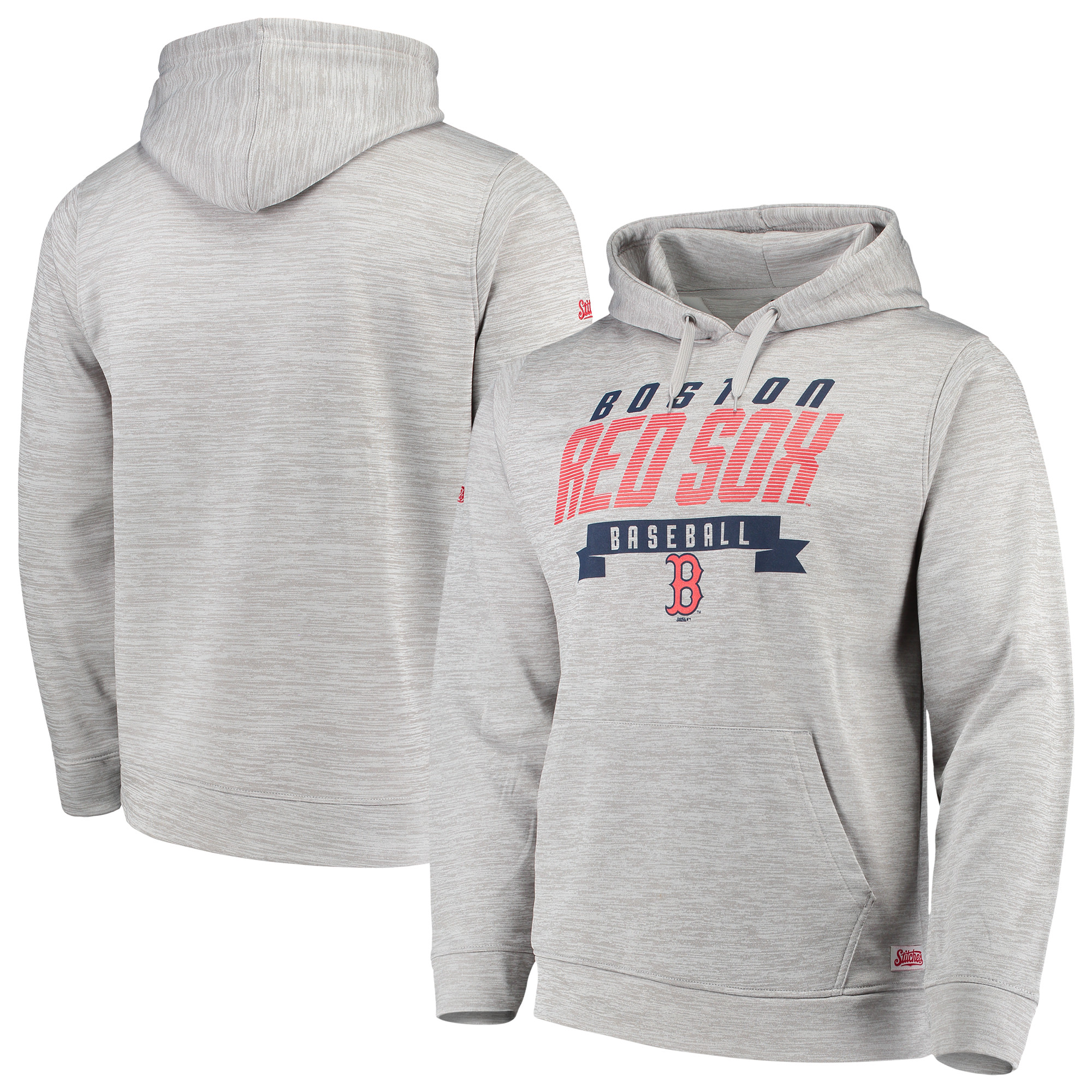 Boston Red Sox Stitches Poly Pullover Hoodie - Heathered Gray