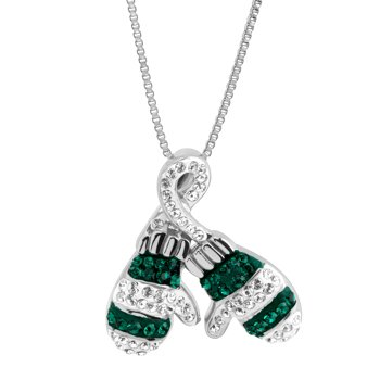Crystaluxe Striped Mittens Pendant Necklace