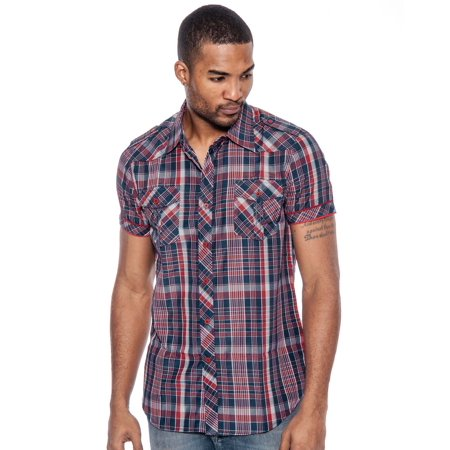 Men's Ace Slim Fit Plaid Button-Down Shirt