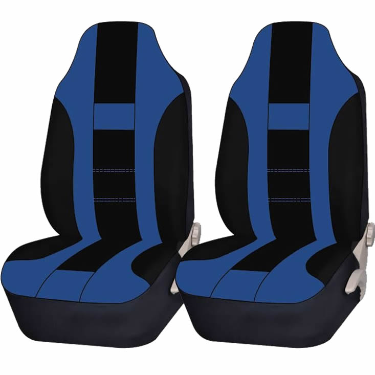 2 Piece Blue & Black High back Double Stitched Front Seat cover Universal Car Truck SUV