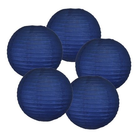 "Just Artifacts 12"" Navy Blue Paper Lanterns (Set of 5) - Decorative Round Paper Lanterns for Birthday Parties, Weddings, Baby Showers, and Life Celebrations"