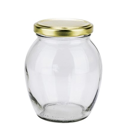 PrestoWare 1351, 0.35L / 11.8 oz Glass Jar for Jam, Honey, Wedding Favors, Shower Favors, Baby Foods, Canning, Spices, Vintage Jar with Metal Screw Lid