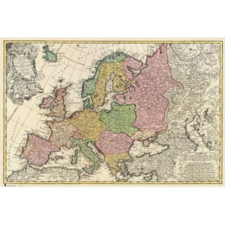 Antique Map Of Europe   Mapa Antiguo De Europa   Poster   Print  Spanish Version   Size  36  X 24