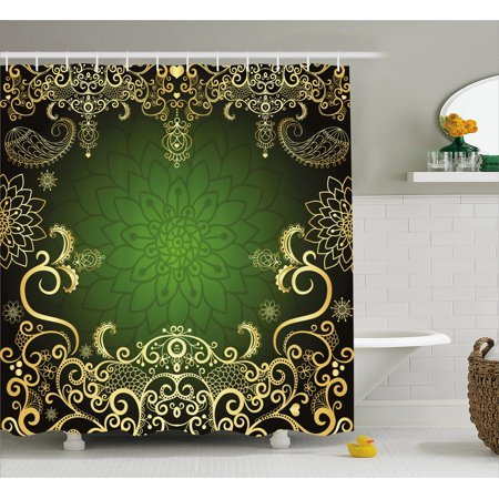 Gold Mandala Shower Curtain Arabesque Luxurious Frame Lotus Shade