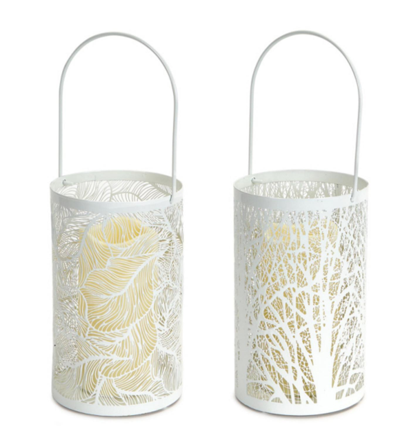 """Pack of 4 White Tree and Leaf Cutout Round Candle Lanterns with LED Candles 8"""""""