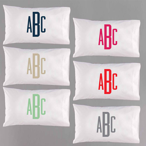 Personalized Raised Monogram Pillowcase, Available in 6 Colors