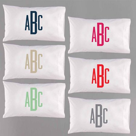 Personalized Raised Monogram Pillowcase, Available in 6 Colors ()