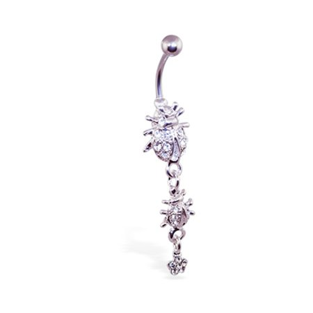 Dangling Ladybug (Navel Ring With Dangling Jeweled Ladybugs And Flower )