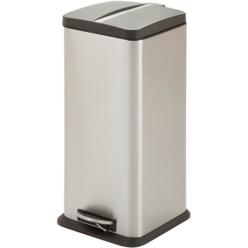 Honey Can Do 30-Liter Square Step Trash Can, Stainless Steel by Honey Can Do