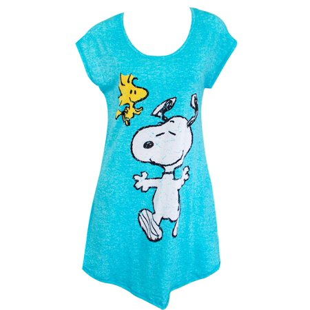 Peanuts Women's Snoopy and Woodstock Sleep Shirt - Blue Tunic-Cut Novelty Top (Peanuts Pajamas)