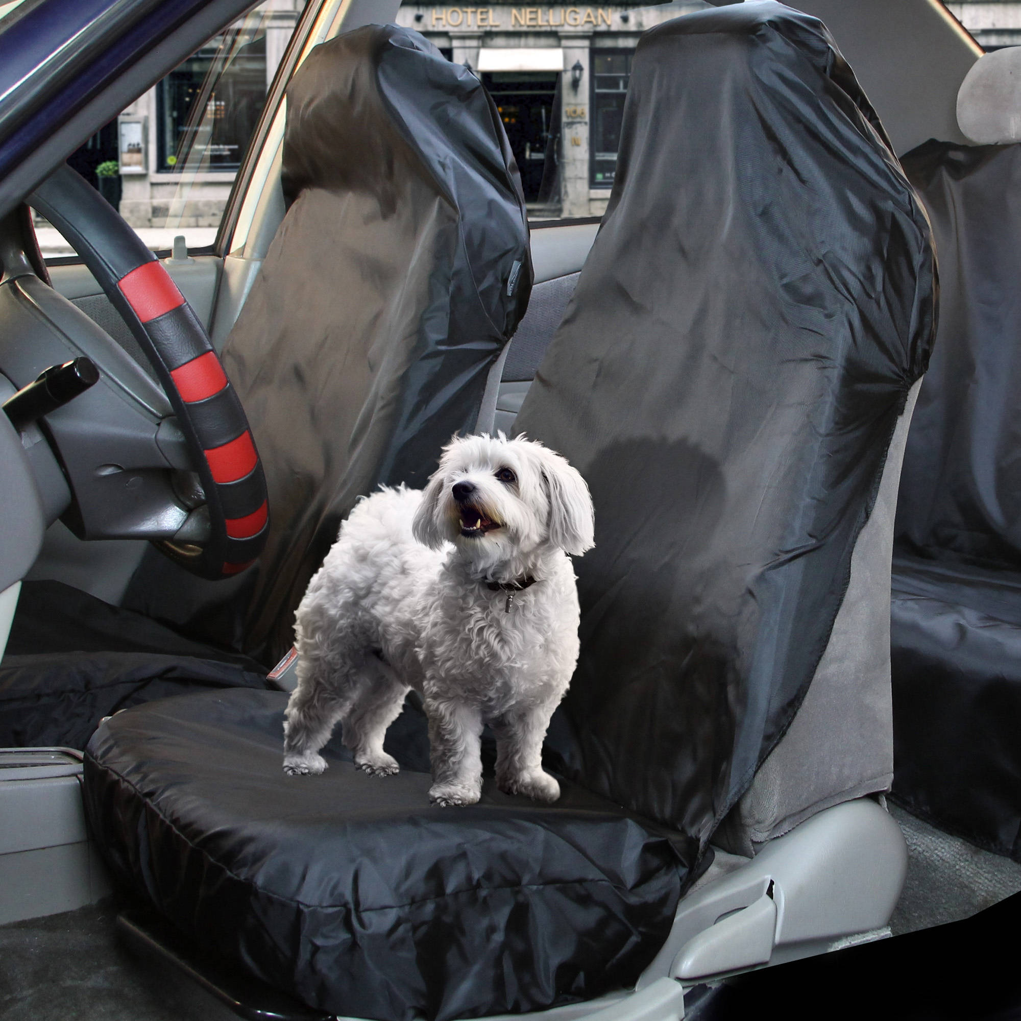 FH Group Water-Resistant Front Seat Cover, Pet Seat Protector for Cars, SUVs and Vans, Black