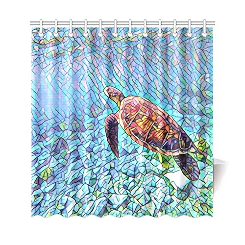 GCKG Underwater World Sea Turtle Shower Curtain Tiffny Landscape Polyester Fabric Bathroom Sets With Hooks 66x72 Inches