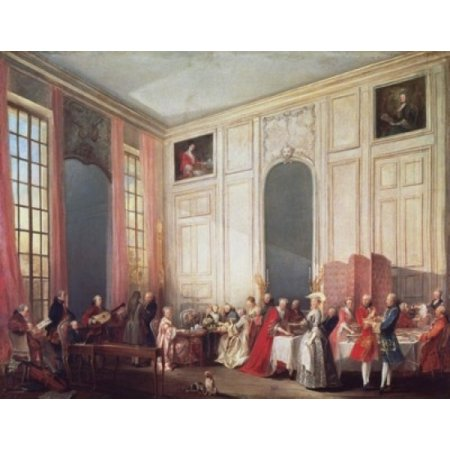 Tea in the English Manner at the Temple in the Salon of Four Mirrors in Prince Contis Home  1766 Michel Barthelemy Ollivier (1712-1784French)  Oil on canvas  Palace of Versailles France Stretched Canv
