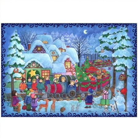 Train with Presents Winter Snow Scene German Christmas Advent Calendar Countdown (Christmas Snow Scenes)