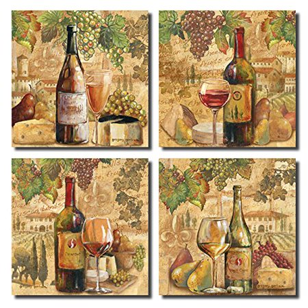 Tuscan Harvest; Rustic Italian Wine Cheese Grapes Vineyard; Four 12x12in Poster - Harvest Vintage Poster