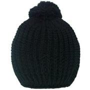 Girls Black Rib Stitch Pompom Bobble Beanie Hat