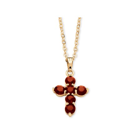 Birthstone Cross Pendant Necklace in Yellow Gold Tone - Cross Necklace For Girl