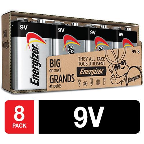 Energizer MAX Alkaline 9 Volt Batteries, 8 Pack