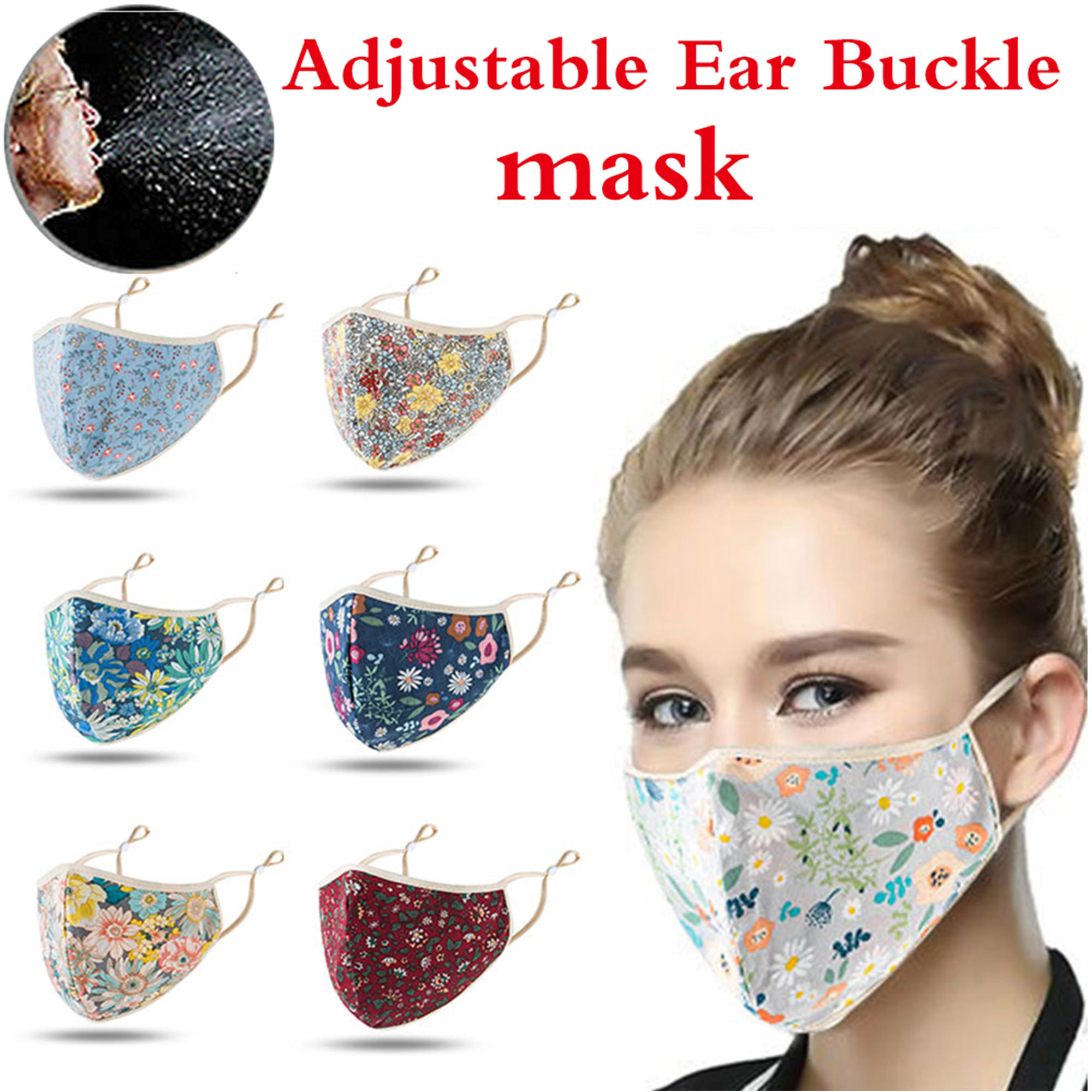 Cuh Women Man Reasuable Floral Half Face Covering Fashion Clothing Adjustable Washable Outdoor Sport Run Protection Walmart Com Walmart Com