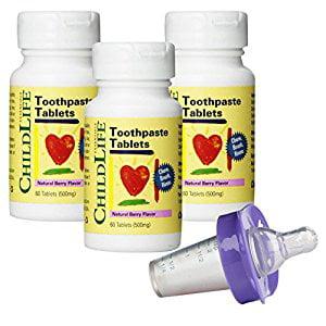 Child Life Dentifrice comprimés - 60 comprimés (500 mg) (pack de 3) avec distributeur de médicaments de médecine