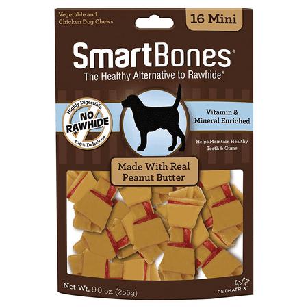 SmartBones Peanut Butter Mini Bones for Dogs, Rawhide-Free 16 (Zukes Mini Naturals Peanut Butter)