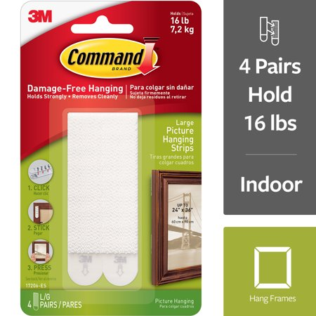Hanging Kit Wire (Command Large Picture Hanging Strips, White, 4 Sets of)