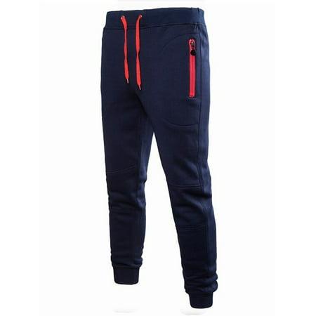 Mens Sport Jogger Pants Long Trousers Gym Fitness Workout Sweatpants Blue Workout Pants Men
