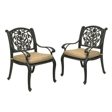 Fleur De Lis Living Camptown Patio Dining Chair with Cushion (Set of 2) ()