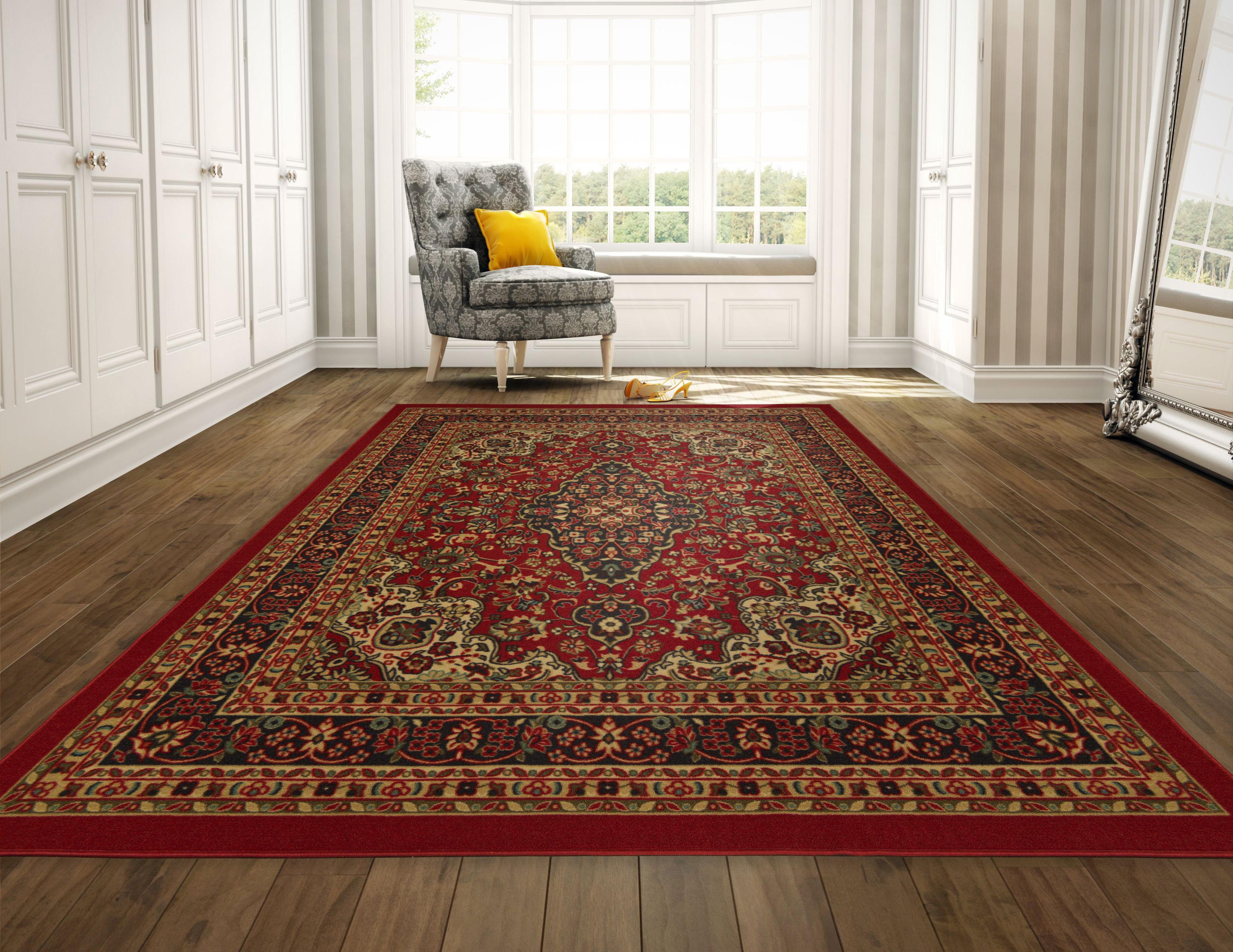 Ottomanson Ottohome Collection Persian Heriz Oriental Design Red or Seafoam Area and... by Ottomanson