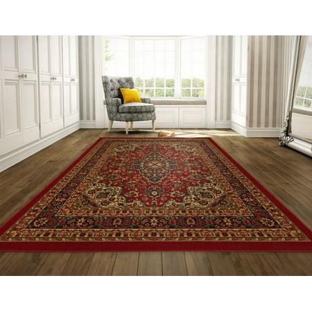 Ottomanson Ottohome Collection Persian Heriz Oriental Design Non Slip Rubber Backing Area and Runner rug
