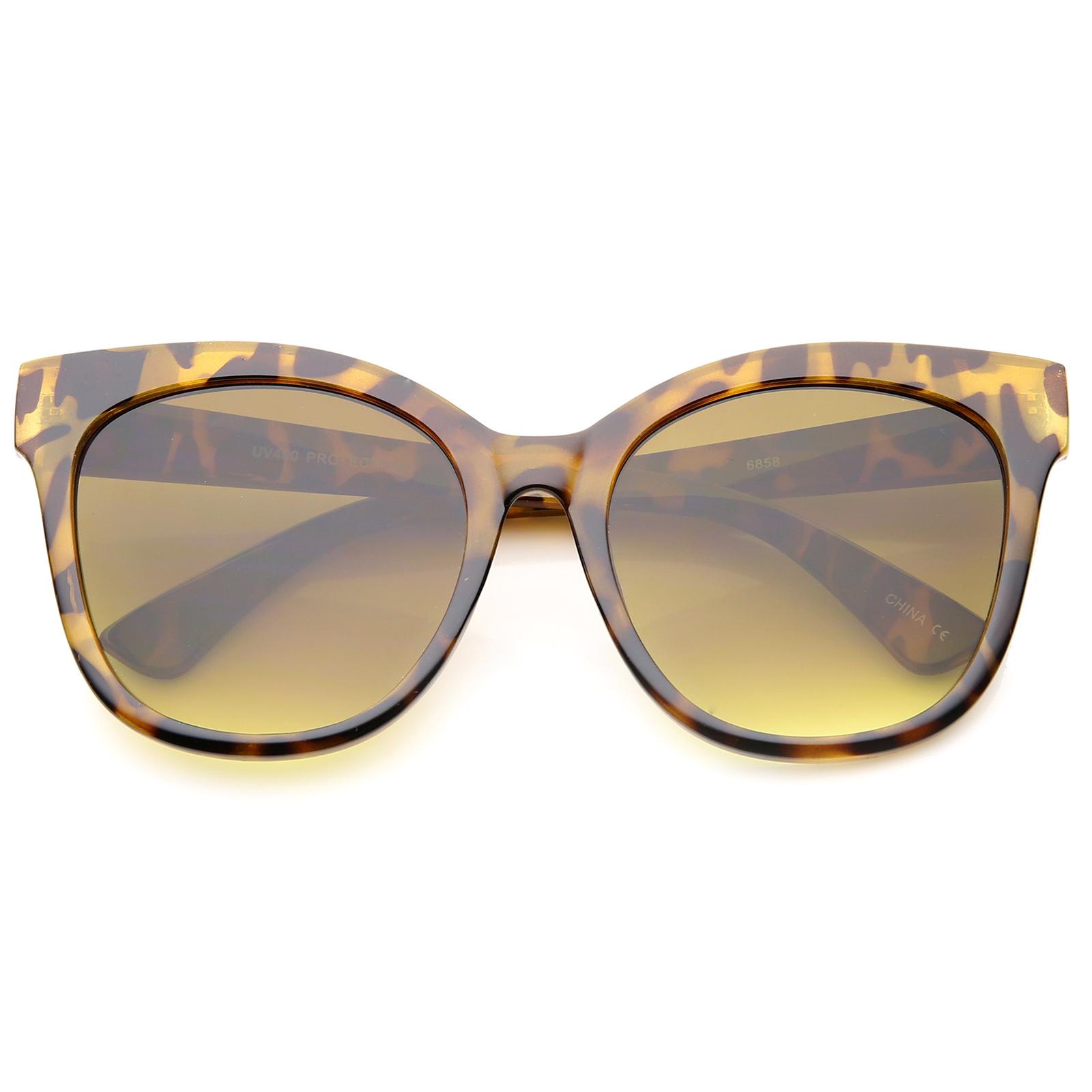 sunglassLA - Women's Horn Rimmed Square Flat Lens Oversize Cat Eye Sunglasses - 57mm