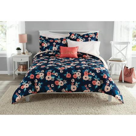 Mainstays Garden Floral Bed In A Bag Bedding Set Walmart Com