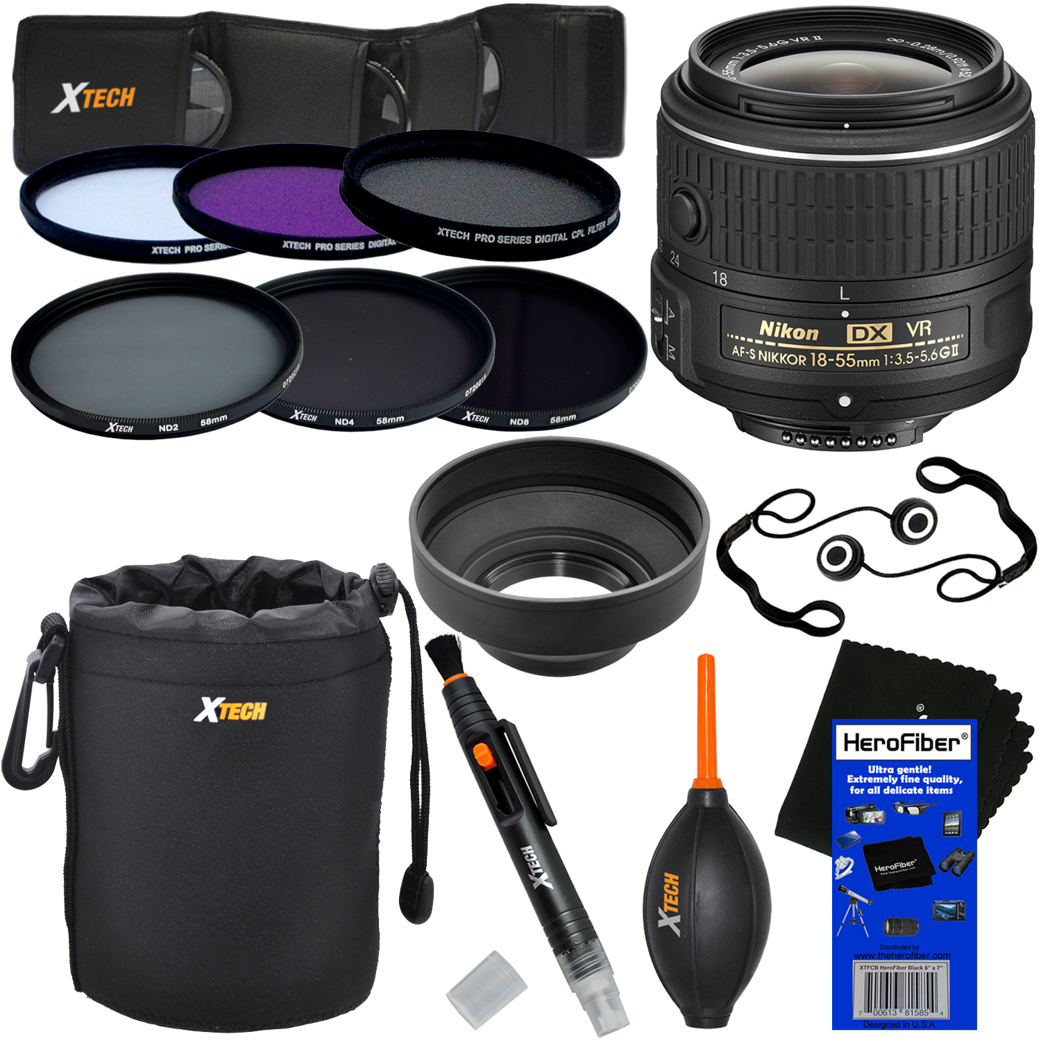 Nikon AF-S DX NIKKOR 18-55mm f/3.5-5.6G VR II Zoom Lens for Nikon DSLR Cameras + ND Filters ND2, ND4, ND8 + 11pc Deluxe Accessory Kit w/ HeroFiber Cleaning Cloth