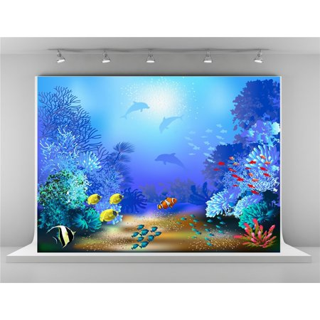 GreenDecor Polyster 7x5ft Under Sea World Photography Backgrounds with Fish and Plants Backdrop Photo for Summer Party Photography - Under The Sea Backdrop