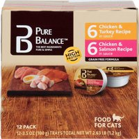 (2 pack) Pure Balance Grain-Free Wet Food for Cats, 6 Chicken & Turkey Recipe & 6 Chicken & Salmon Recipe Variety Pack, 3 oz, 12 Count