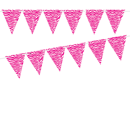 Wild Pink Zebra 10ft Vintage Pennant Banner Paper Triangle Bunting Flags for Weddings, Birthdays, Baby Showers, Events & Parties