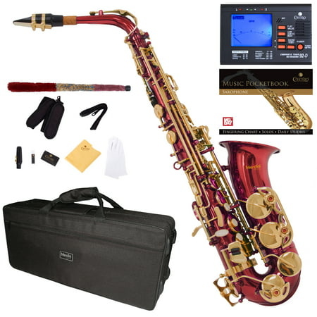 Mendini by Cecilio Eb Alto Sax w/Tuner, Case, Mouthpiece, 10 Reeds, Pocketbook and 1 Year Warranty, MAS-RL Red Lacquer E Flat