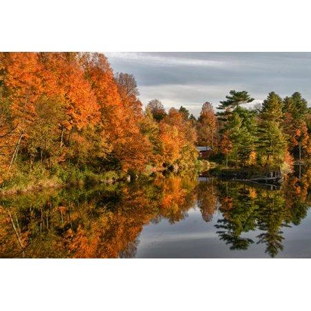 USA, Vermont, Morrisville. Lake Lamoille Reflecting Fall Foliage Print Wall Art By Bill