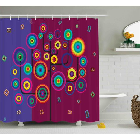 Trippy Shower Curtain Funny Geometric Circle And Square Shaped Tree Branches Vibrant Retro Art Image
