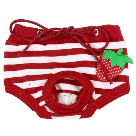 Red White Stripes Pattern Adjustable Pet Dog Poodle Waist Diaper Pants M