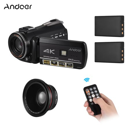 Digital Zoom 2.5 Inch Lcd - Andoer AC3 4K UHD 24MP Digital Video Camera Camcorder DV Recorder 30X Zoom WiFi Connection IR Night Vision 3.1 Inch IPS LCD Touchscreen Hot Shoe Mount