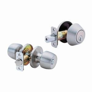 (2-Pack) Defiant Brandywine Single Cylinder Stainless-Steel Entry Knob and Deadbolt Combo