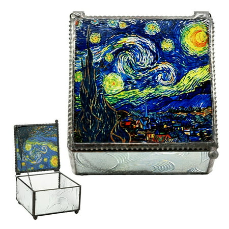 Cut Glass Trinket (Ebros Vincent Van Gogh Starry Night Stained Art Glass Decorative Box 4