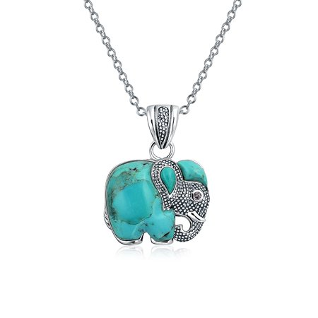 Bali Style Gemstone Blue Lapis Rhodolite Turquoise Dyed Jade Elephant Pendant Necklace For Women 925 Sterling Silver Olive Jade Necklace