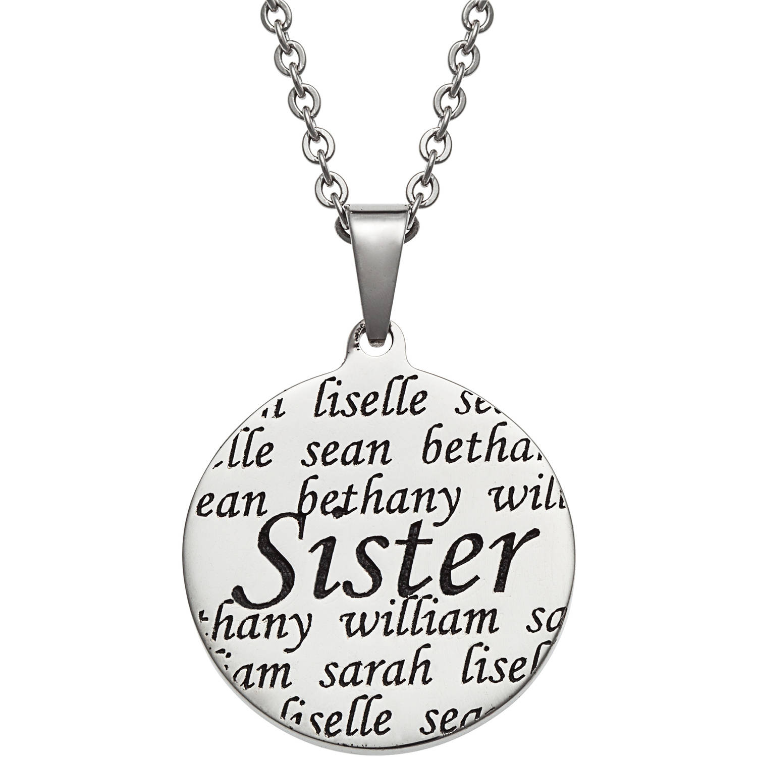 "Personalized Everscribe ""Sisters"" Names Stainless Steel Pendant, 20"""