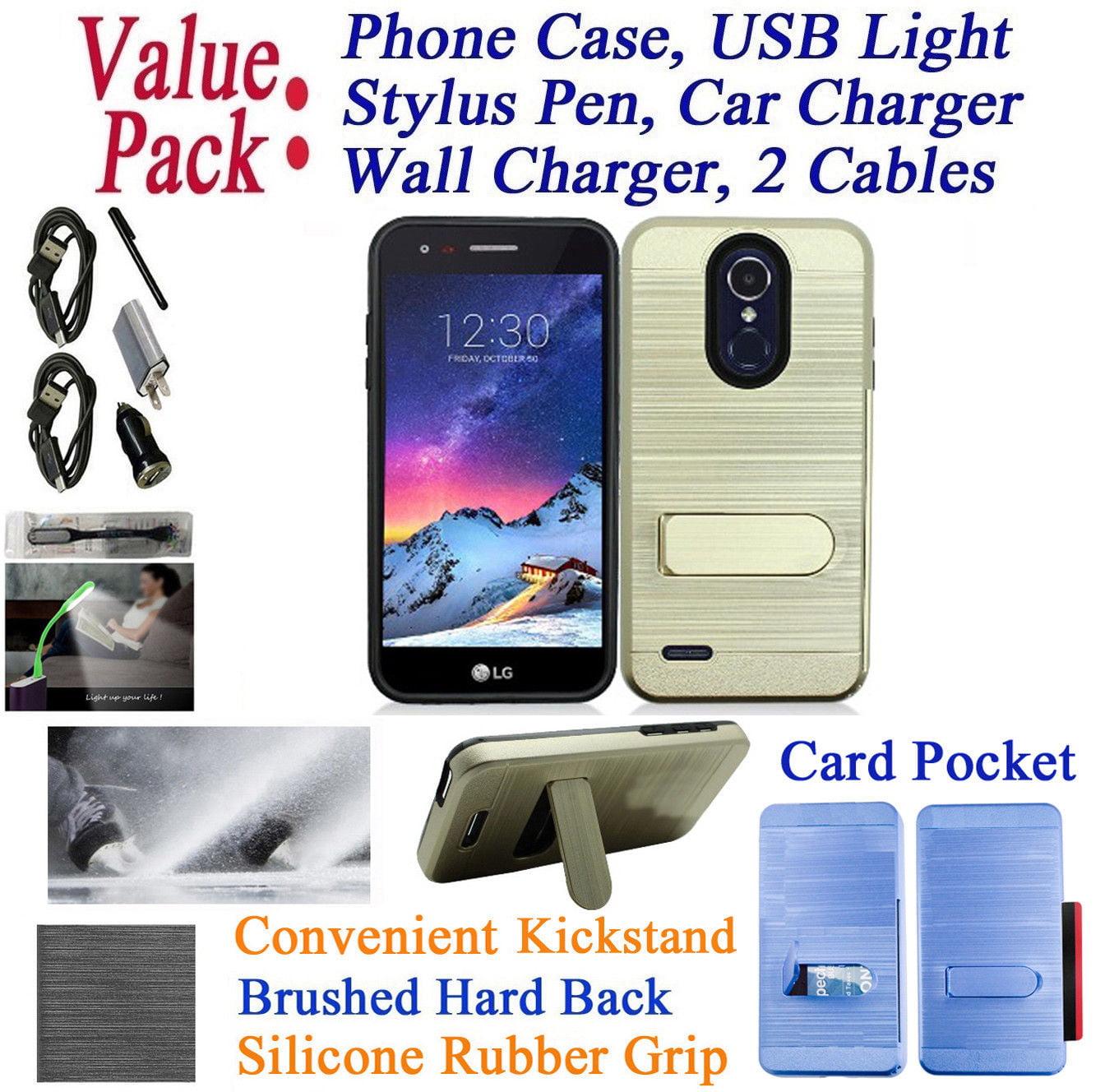 "Value Pack + for 2018 5"" LG Aristo 2 TRIBUTE DYNASTY Case Hybrid Phone Case Kick stand Card Holder Brushed Pattern Slim Shock Bumper Cover Rose"