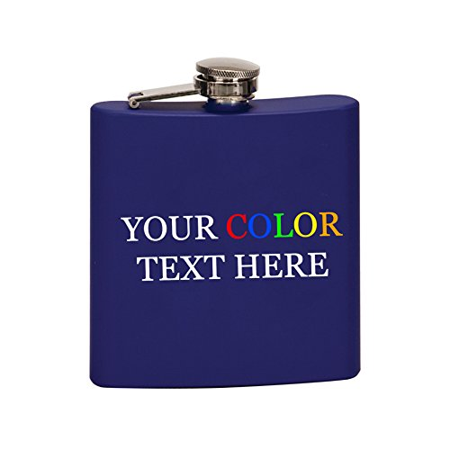 Customized Printed In Full Color Personalized 6 oz. Stainless Steel Flask (Matte - Customized Flasks