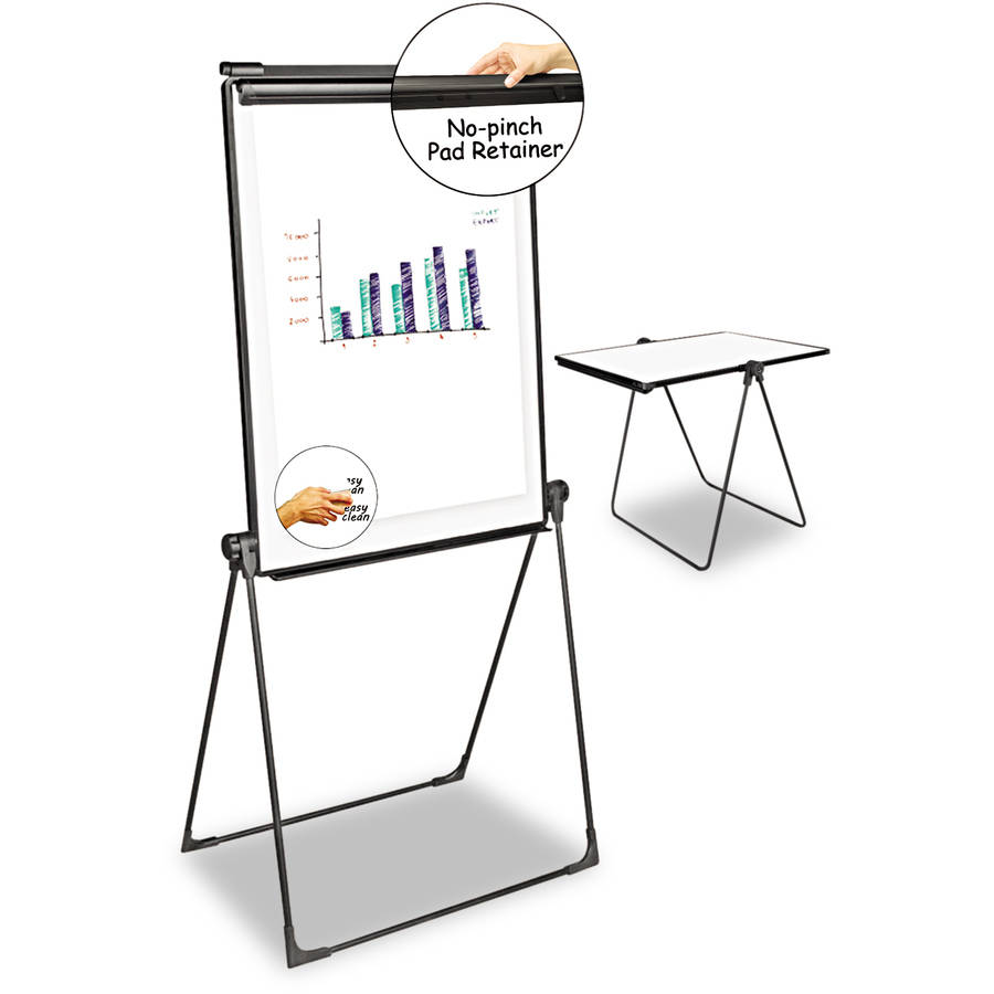 "Universal One Foldable Double Sided Dry Erase Easel, 28.5"" x 37.5"", White/Black"