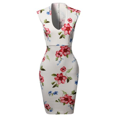 Scala Cocktail - FashionOutfit Women's Scuba Floral Print Sleeveless Front U Neckline Cocktail Party Midi Dress