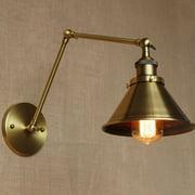 Retro Industrial Wall Loft Light Fixture Lamp E26/E27 Brass Swing Arm Sconce Light Lamp Shade Home Decor Gift
